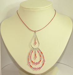 Silver pendant necklace with pink Swarovski crystals and seed beads adjustable - pinned by pin4etsy.com