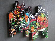 ORIGINAL Wandgebilde XL abstrakt Malerei Design Modern Bild Skulptur