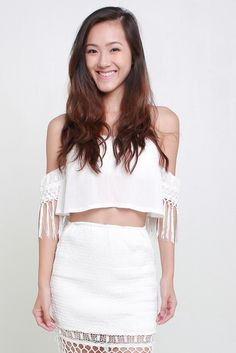 BECKY FRINGE TOP by Indikah available from www.bellablizz.com Bandeau Top, Coachella, Lace, Skirts, Sleeves, Model, How To Wear, Tops, Skirt