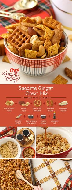 Start a new holiday tradition with this fresh Homemade Sesame Ginger Chex Mix recipe! With the flavors of soy sauce, hoisin, sesame sticks, and ginger, this is one of our boldest savory mixes ever.