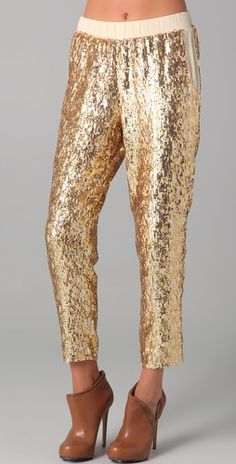 Pencey Gold Sequined Pants, $656