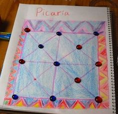 Picaria: Native American game that incorporates math and art when making board. Native American Games, Native American Lessons, Native American Crafts, American Indians, 3rd Grade Social Studies, 3rd Grade Math, Grade 3, Fourth Grade, Third Grade