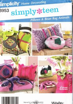 Teen Pillows and Bean Bag Animals Sewing Pattern Simplicity 3953 Home Decorating