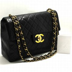 """AUTHENTIC CHANEL 13"""" JUMBO MAXI LARGE CHAIN SHOULDER BAG BLACK FLAP QUILTED 272"""