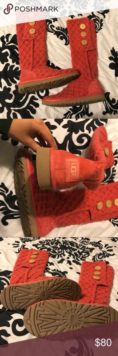 Salmon Pink Uggs Bought them and only wore them once! As you can see in the photos these Uggs are in 100% perfect condition and look like they have never even been worn! Bottoms are perfect and the inside is furry and comfortable UGG Shoes Winter & Rain Boots