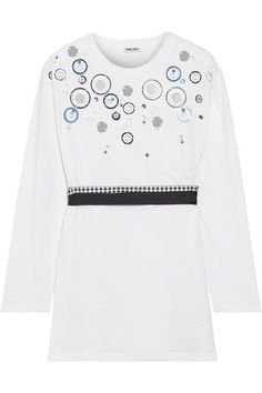 MIU MIU Embellished cotton-jersey top