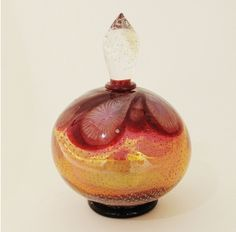 Kirra Galleries - Round Red Perfume Bottle In Lamp Worked Glass By Richard Clements
