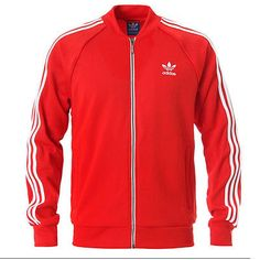 Adidas Superstar Track Jacket Mens AA0156 Red White Zip Top Apparel Size XL