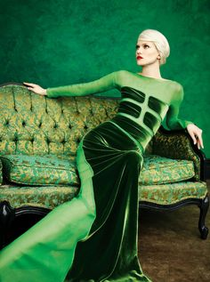 A Tom Ford #green #velvet gown from Neiman Marcus Art of Fashion campaign photographed by Eric Madigan Heck    #NMArtofFashion