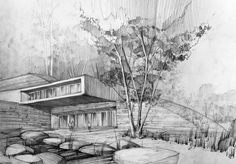 Pencil rendering of an architectural structure. Scribbling is used to describe the leafy texture of the trees and lines are used as shading to provide perspective and describe the shape of the building.