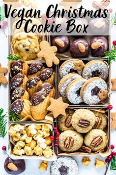 Vegan Christmas Cookies in a wonderful vegan christmas cookie box! This is the best vegan cookie spread for your holiday baking! Vegan Christmas Desserts, Vegan Christmas Cookies, Vegan Gingerbread Cookies, Christmas Cookie Boxes, Vegan Christmas Dinner, Holiday Baking, Christmas Baking, Cookies Box, Best Vegan Cookies