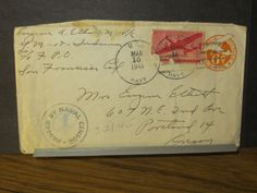 USS INDIANA YM-18 DREDGE Naval Cover 1945 Censored WWII Sailor's Mail w/ letter