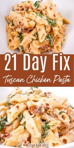 This creamy and healthy Tuscan Chicken Pasta with spinach and sun dried tomatoes will satisfy your pasta craving! This easy chicken recipe is skinny, family friendly, and can be cooked in your Instant Chicken Spinach Pasta, Tuscan Chicken Pasta, Chicken Pasta Recipes, Pasta With Chicken, Easy Chicken Meals, Skinny Chicken Recipes, Healthy Chicken Pasta, Shrimp Recipes, Turkey Recipes