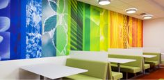 The colorful, nature-focused graphics of this workplace reinforce Philips' mission of well-being.