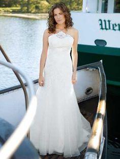 A-line Spaghetti Straps Organza Satin Sweep Train Appliques Wedding Dresses