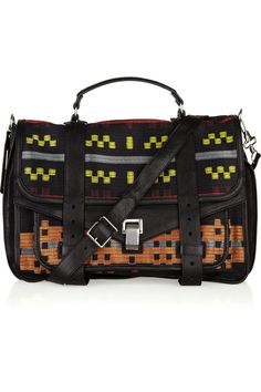 PROENZA SCHOULER  PS1 Large leather and jacquard satchel $1603