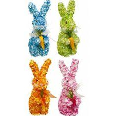 Lapin de décoration 30 cm, lapin recouvert de petites fleurs avec noeud organdi.