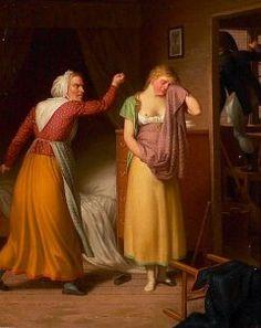 """""""En falden piges historie - Elskeren Flygter ud af Vinduet"""" (The story of a fallen girl - the lover flees out the window), by C. W. Eckersberg, Denmark, 1808."""