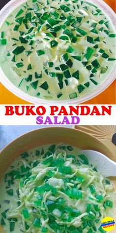 "There are three main ingredients in making Buko Pandan Salad. One is ""Buko"" also known as young coconut meat. Also the Pandan and the Gulaman."