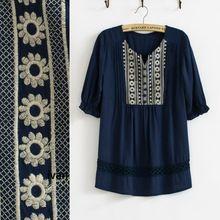 Винтаж / vtg 70 S Boho мексиканская ретро крючком белый параллельный цветочные вышитые широкий рубашка фестиваль блузка этнические XS с . м .(China (Mainland))