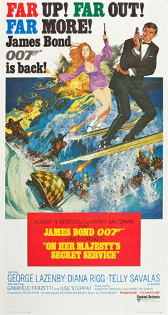 "On Her Majesty's Secret Service (United Artists, 1970). Three Sheet (40.5"" X 77"") International Style.  Although George Lazenby made only one appearance as James Bond, many fans of the series consider him to be the best non-Connery 007. Diana Rigg, as Tracy DiVicenzo (and a bit of a spy herself from the Avengers TV series) would become famous as the only woman to ever lead Bond to the marriage altar. this poster by top artist Frank McCarthy."
