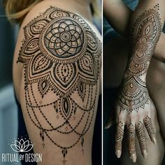 Latest Mehndi designs for arms. Mehndi designs are an indistinguishable piece of the rich Indian society.Henna for women's arm. Henna Tattoos, Tatuajes Tattoos, Neue Tattoos, Mehndi Tattoo, Henna Tattoo Designs, Body Art Tattoos, Tribal Tattoos, Henna Mehndi, Female Arm Tattoos