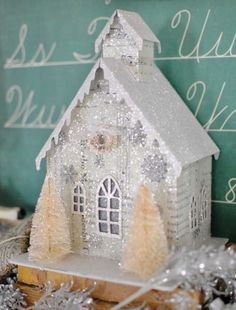 Beautiful Silver Mica Vintage Putz Style House * Mica Glitter, Holiday & Christmas Houses with Beautiful Bottle Brush Trees * Design & Decor DIY Inspiration * For the love of tiny & shiny!