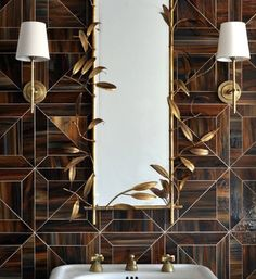 Brass is a classic bath finish. It's all the rage right now. Here's how to update it… A fabulous mirror, and modern sconces. Classic Baths, Modern Sconces, Houzz, Innovation Design, Kitchen And Bath, Country Living, Rage, Kitchen Design, Mirror