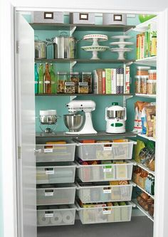 Pantry organization-- if we don't have to change the build outs we can paint or wallpaper! It will make the room feel bigger and brighten it up.