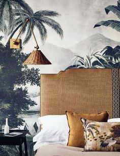 This modern exotic styled bedroom design made it into July's top interior inspiration for its combo of natural woven textures, prints and patterns. Read to see what the rest of the deign inspiration for July looks like! Tropical Bedroom Decor, Tropical Bedrooms, Home Decor Bedroom, Master Bedroom, Nature Bedroom, Modern Interior Design, Interior And Exterior, Bedroom Goals, Estilo Colonial
