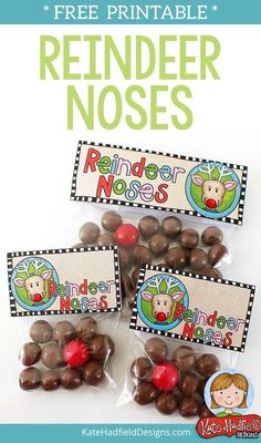 Reindeer Noses FREE printable bag toppers! Perfect for making stocking stuffers and Christmas treats! #katehadfielddesigns