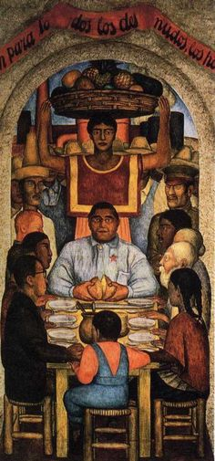 Our Bread 1928  Museum:Fresco North wall Courtyard of the Fiestas Ministry, of Education, Mexico City