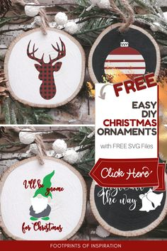 Oh my gosh! I made these ornaments and they turned out so cute! I used the FREE Christmas SVG Files and I'm going to use them to make Christmas pillows for some people on my list this year! #footprintsofinspiration #christmasdiy #vinyldiy #vinylprojects #diyornaments #freesvg #silhouette #cameo #cricut Vinyl Christmas Ornaments, Easy Diy Christmas Gifts, Christmas Wood Crafts, Easy Diy Gifts, Christmas Svg, Diy Vinyl Projects, Cool Diy Projects, Silhouette Cameo, Fonts