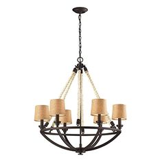 Elk 630166 Natural Rope 6Light Chandelier 30 by 32Inch Aged Bronze Finish * Want additional info? Click on the image.
