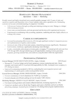 resume for folks in the hospitality industry hospitality resume resumewriters example of resumeresume template freetemplates