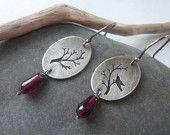 Delicate Sterling Silver Bird Earrings With dark red Garnet Gemstones