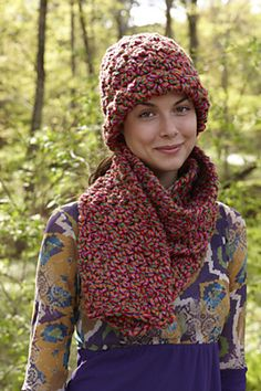 Free Crochet Berry Bloom Hat And Scarf pattern by Lion Brand Yarn