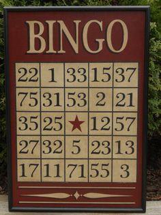 Primitive Bingo Game Board
