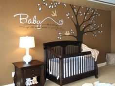 One of the most successful and unexpected color combinations is brown and baby blue. From the crib bedding to the leaves on the tree, these colors blend effortlessly for maximum impact. Design by HGTV fanSharon Kuplack