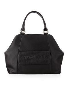 Sparkle Logo Geometric Satchel Bag, Black - Last Call by Neiman Marcus