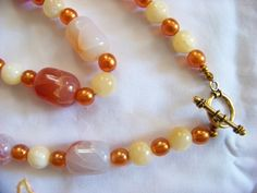 """Vintage 19"""" Beaded Necklace Melon Ivory Marble Rocks Czech Glass Beads Beaded Necklace by walkingwithjulann on Etsy"""