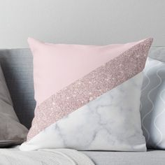 Stylish white marble rose gold glitter pink Throw Pillow
