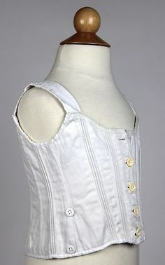 Adorable Antique Children's Corset in White Cotton with Center Front Buttons | www.SarahElizabethGallery.com