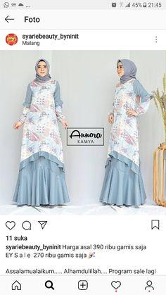 Blus pantai Batik Fashion, Abaya Fashion, Muslim Fashion, Fashion Dresses, Simple Long Dress, Abaya Designs, Muslim Dress, Batik Dress, Islamic Clothing
