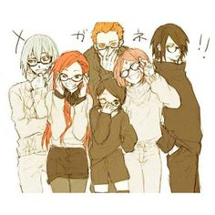 SasuSaku, Sarada, and Team Hebi wearing glasses <<< I love the idea of Team Hebi/Taka being friends, & being involved in the Uchiha Family's life