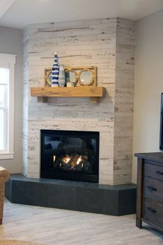 Shiplap Fireplace, Home Fireplace, Fireplace Remodel, Fireplace Surrounds, Fireplace Design, Corner Fireplaces, Fireplace Ideas, Modern Fireplaces, Fireplace Hearth