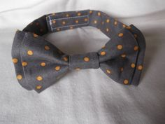 Grey and Orange Polka Dot Bow Tie for Your Baby Boy or Toddler
