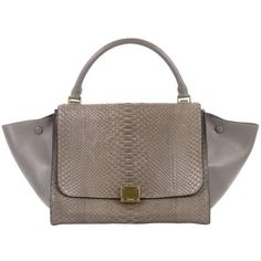 Preowned Celine Trapeze Handbag Python Small (88.485 RUB) ❤ liked on Polyvore featuring bags, handbags, grey, top handle bags, leather hand bags, celine purse, grey leather purse, celine handbags and grey handbags
