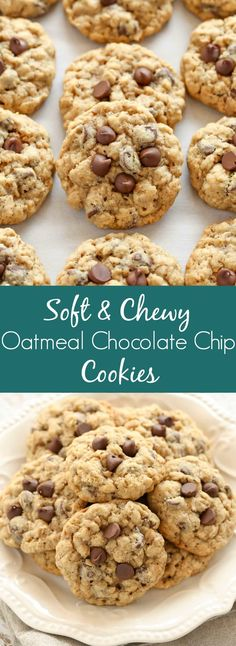 These Oatmeal Chocolate Chip Cookies are packed with oats, chocolate chips, and . These Oatmeal Chocolate Chip Cookies are packed with oats, chocolate chips, and incredibly soft and chewy. These cookies are easy to make and deliciou. Chocolate Cookie Recipes, Easy Cookie Recipes, Homemade Chocolate, Chocolate Cookies, Dessert Chocolate, Delicious Chocolate, Oatmeal Recipes, Chocolate Chocolate, Oatmeal Chocolate Chip Peanut Butter Cookie Recipe