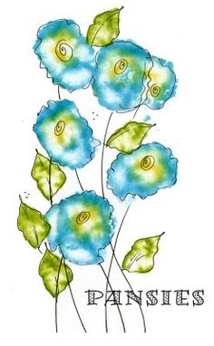 Another example of pansies from Art du Jour by Martha Lever: Somthin' fun...alcohol flowers!